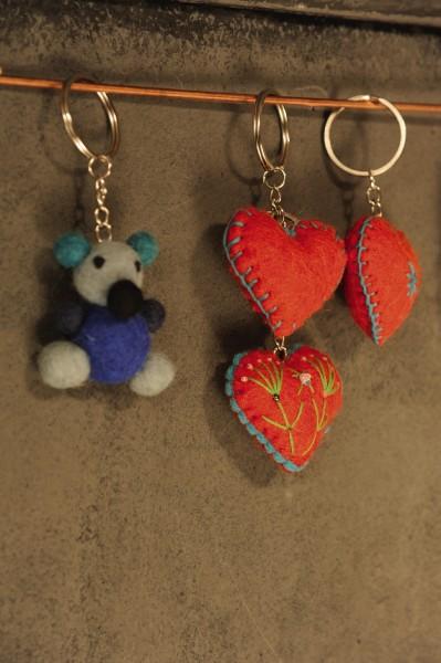 Schlüsselanhänger 'Pandabär', blau