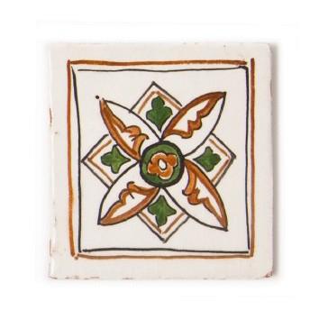 "Fliese ""marron et vert"", beige/grün, L 10 cm, B 10 cm, H 1 cm"