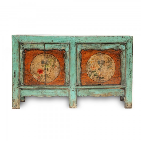 Sideboard 'Li Wei', 4 Türen, antikblau, T 43 cm, B 161 cm, H 83 cm