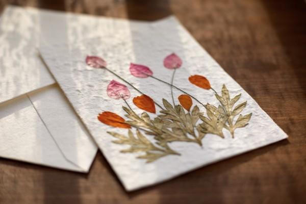 Grußkarte Blume Neutral, weiß, T 17 cm, B 12 cm