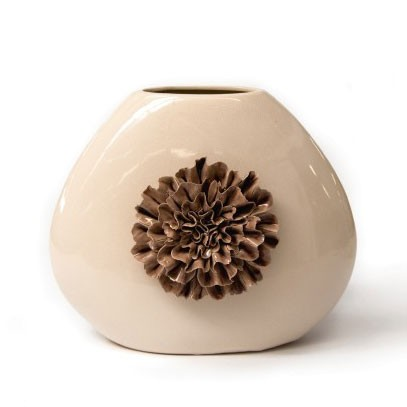 """Keramikvase """"Dianthus quadra"""" mit handmodellierten Blüten, H 25 cm"""
