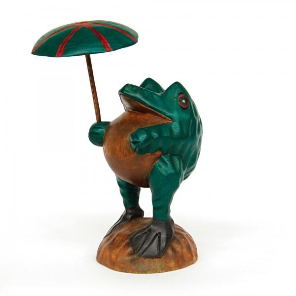 Handgeschnitzter Holzfrosch mit Schirm, multicolor, T 12 cm, B 12 cm, H 24 cm