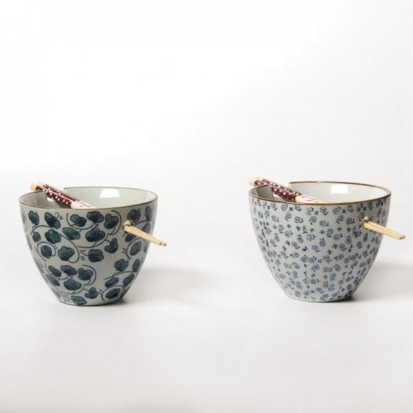 Schalen, 2er-Set in Geschenkbox, weiß/blau, H 10 cm, Ø 13,5 cm