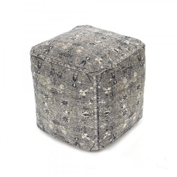 Pouf 'Azam', weißblau, T 45 cm, B 45 cm, H 45 cm