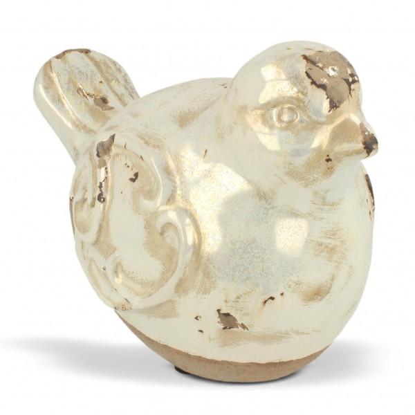 Sitzender Vogel mit antikem Finish, antik-perlmutt, L 13 cm, B 23, 5 cm, H 15,5 cm