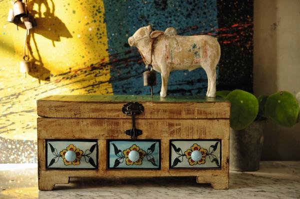 Schmucktruhe klein, 3 Schubladen, multicolor, T 38 cm, B 15 cm, H 18 cm