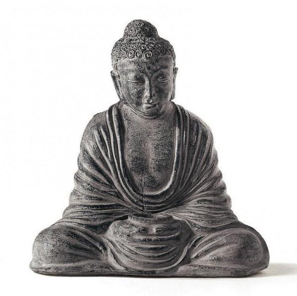 Sitzender Buddha aus Ton, grau, L 30 cm, B 47 cm, H 49 cm