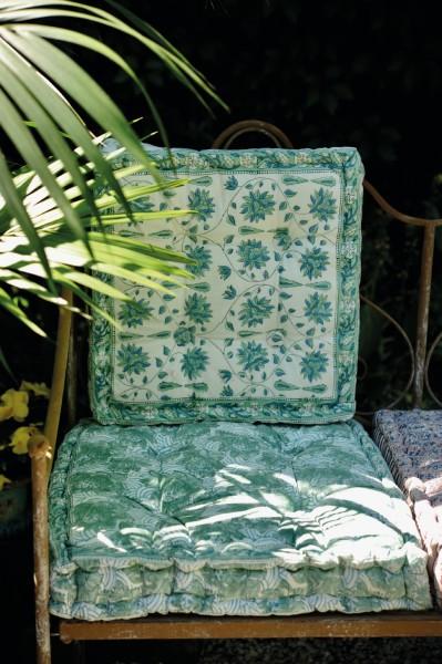 Sitzkissen 'Kaaraneshan', türkis, weiß, L 40 cm, B 40 cm, H 8 cm