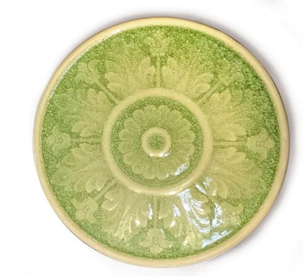 Steingutuntersetzer, mit Craquele-Glasur, lindgrün, Ø 30 cm, H 2 cm