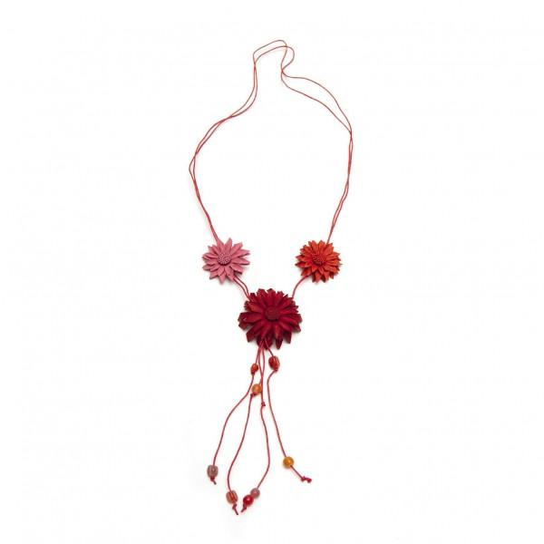 """Halskette aus Leder """"Blumen"""", rot/pink/orange"""