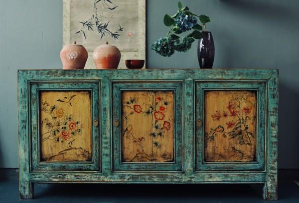 Sideboard 'Deng Hui', türkis, gelb, T 42 cm, B 158 cm, H 80 cm
