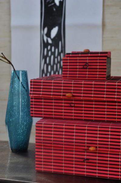 Bambus-Box S, rot, schwarz, T 11 cm, B 11 cm, H 5 cm