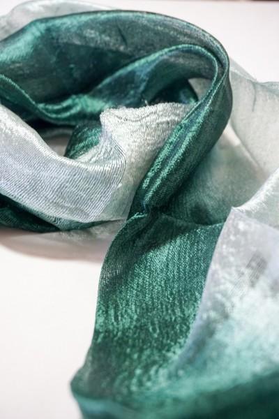 Seidenschal aus Thailand, jadegrün, L 175 cm, B 35 cm