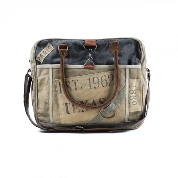 Laptop-Tasche 'Amy' aus derbem Leinen, braun/grau, B 40 cm, H 33 cm