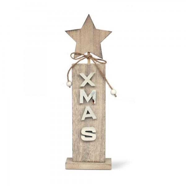 Holzstern X-mas auf Säule, braun, T 3 cm, B 3 cm, H 8 cm