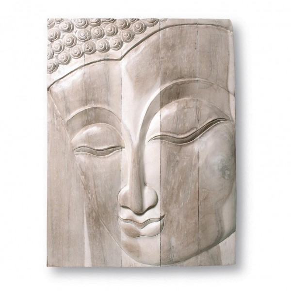 "Panel ""Buddha"", weiß, L 61 cm, B 77 cm"