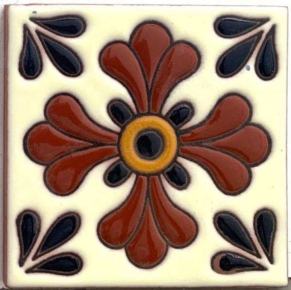 Reliefkachel 'Pueblo', multicolor, T 10 cm, B 10 cm, H 0,5 cm