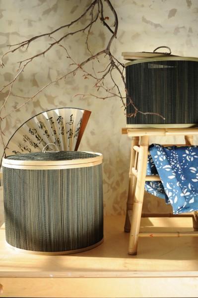 Wäschekorb mit Deckel aus Bambus S, braun, Ø 30 cm, H 26 cm