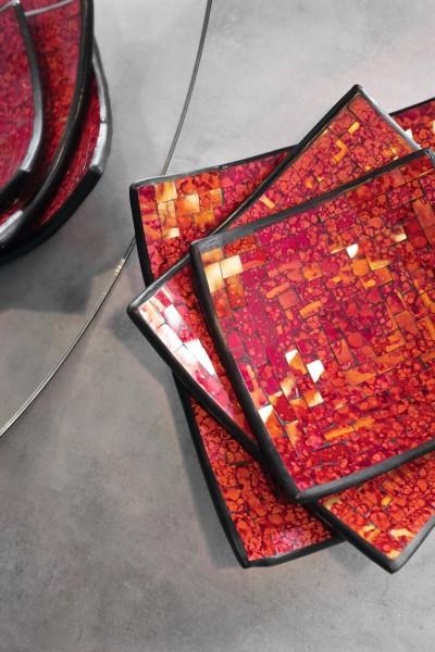 "Glasmosaikschüssel ""Cherry"", rot, L 30 cm, B 30 cm"