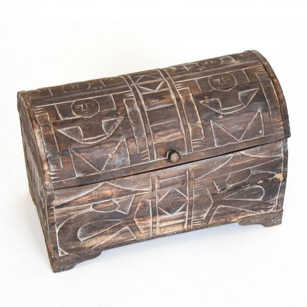 "Truhe ""primitif"" mit gewölbtem Deckel, braun, L 24,5 cm, B 44 cm, H 28,5 cm"
