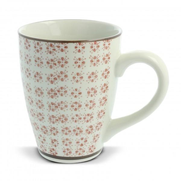 Tasse Gordes 'Breakfast', beige/rot, H 12 cm, Ø 9,5 cm