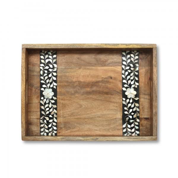 Tablett 'Caluma' S, natur, schwarz, weiß, T 54 cm, B 38 cm, H 10 cm