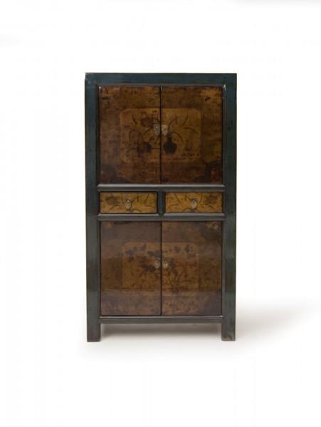 Schrank, 4 Türen, 2 Schubladen, schwarz, braun, T 40 cm, B 80 cm, H 150 cm