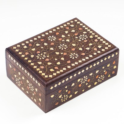 Holztruhe mit Messingintarsien, braun, L 15 cm, B 20 cm, H 8,5 cm