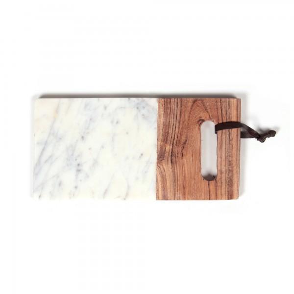 Schneidebrett 'Oditi', aus Marmor, weiß/braun, L 14 cm, B 25 cm