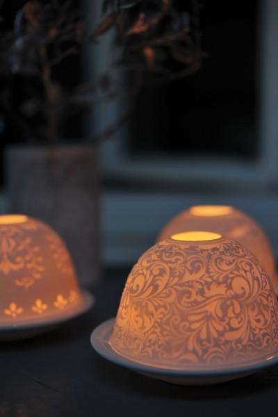 Windlicht 'Tenture' aus Porzellan, Ø 12 cm, H 7,5 cm
