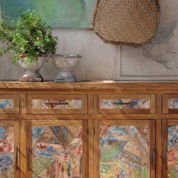 """Sideboard """"Sampan"""" mit 3 Türen, braun/multicolor, T 42 cm, B 150 cm, H 90 cm"""