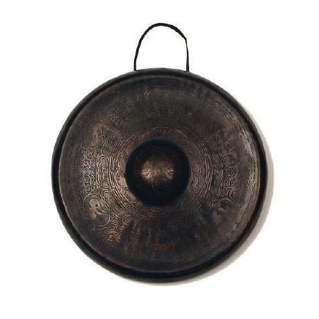 Nepalesischer Gong aus Bronze, handgetrieben, Ø 25 - 28 cm