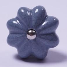 "Keramik Möbelknopf ""Blume"", handglasiert, grau, Ø 4 cm"