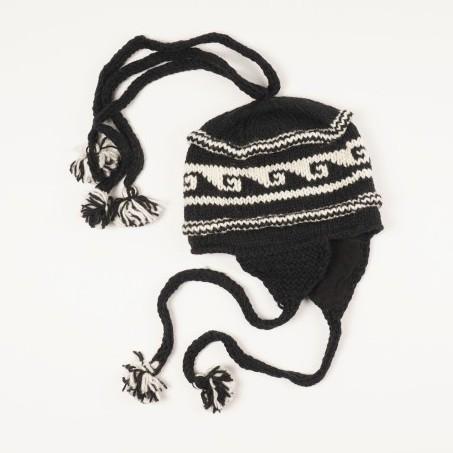 Handgestrickte Wollmütze aus Nepal, schwarz/weiß