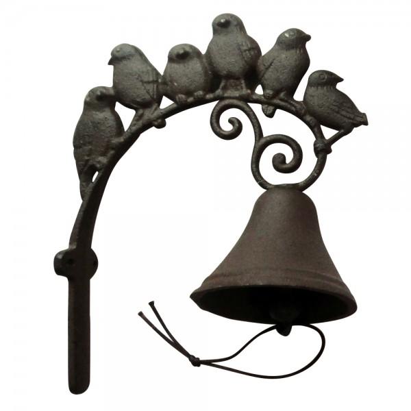 """Glocke """"6 Vögel"""", antik-braun, L 19 cm, H 24 cm"""
