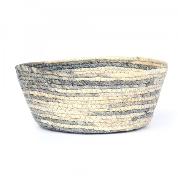 Korb 'Feltria' L, blaugrau, natur, Ø 24 cm, H 10 cm