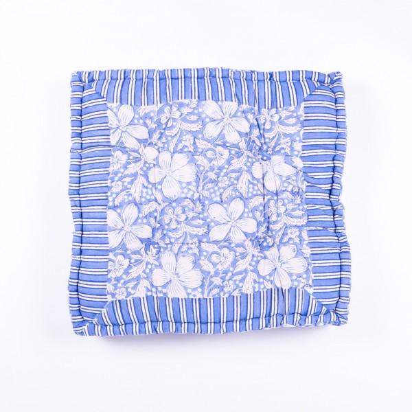 """Sitzkissen """"Indian Summer"""", manuelles Blockprintverfahren, L 48 cm, B 48 cm, H 10 cm"""