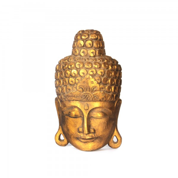 Buddha-Maske, aus Albesiaholz, gold, B 23 cm, H 40 cm