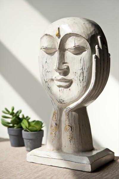 Maske Gesicht in Händen auf Ständer, nautr, T 20 cm, B 14 cm, H 35 cm