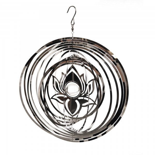 Windspiel 'Lotus' mit Glaskugel, grau, Ø 25 cm, H 25 cm