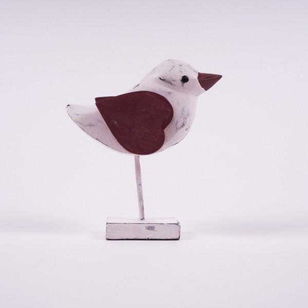 "Holz-Vogel ""Spatz"", weiß/rot, L 18 cm, B 6 cm, H 20 cm"