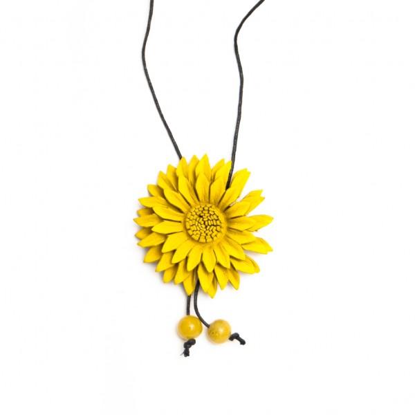 """Halskette aus Leder """"Blume gelb"""", L 47 cm"""