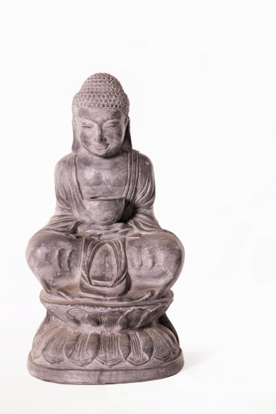 sitzender Buddha, grau, T 25 cm, B 22 cm, H 42 cm