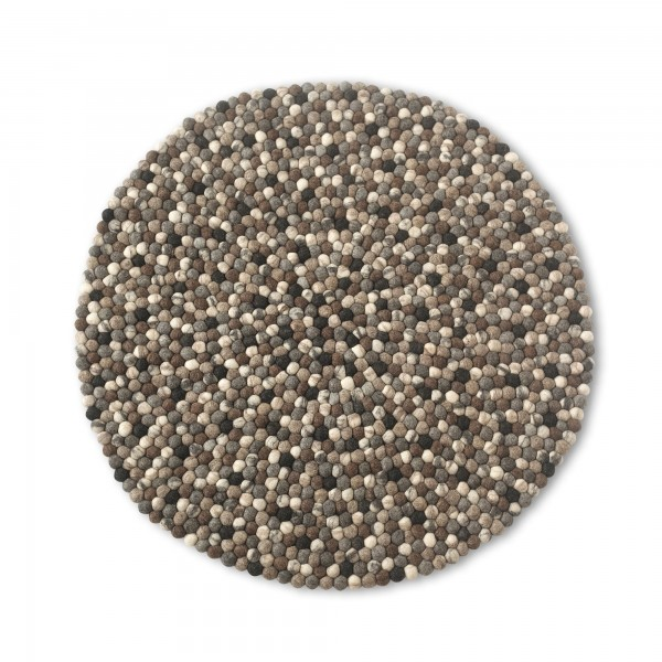 Filz-Teppich, schwarz, weiß, Ø 120 cm