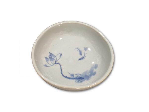 Keramikschale, weiß, blau, Ø 13 cm, H 5 cm