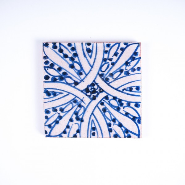 handglasierte Kachel 'universal', blau/weiß, L 10 cm, B 10 cm, H 1cm