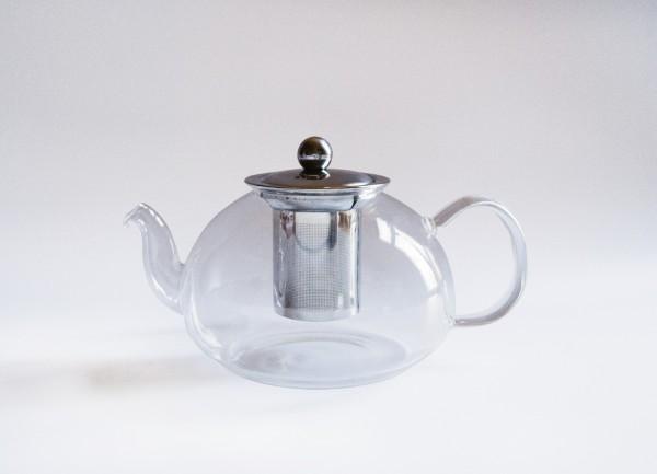 Teekanne mit Filter, transparent, T 14cm, B 22cm, H 12cm