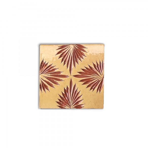 Kachel 'fleur d'automne', gelb, T 10 cm, B 10 cm, H 1 cm