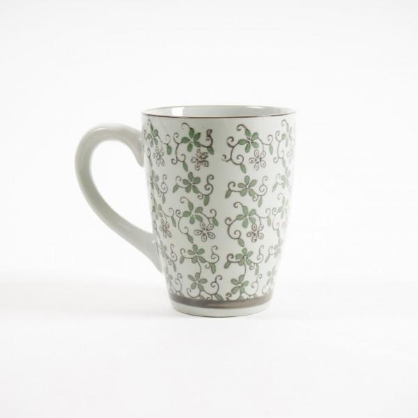 """Tasse Gordes """"Blüte"""", grün/weiß, H 12 cm, Ø 9,5 cm"""