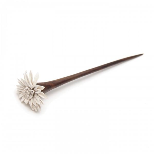"""Haarnadel """"Blume"""", braun/weiß"""